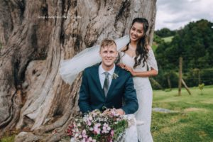 Wedding photos with rural backdrop