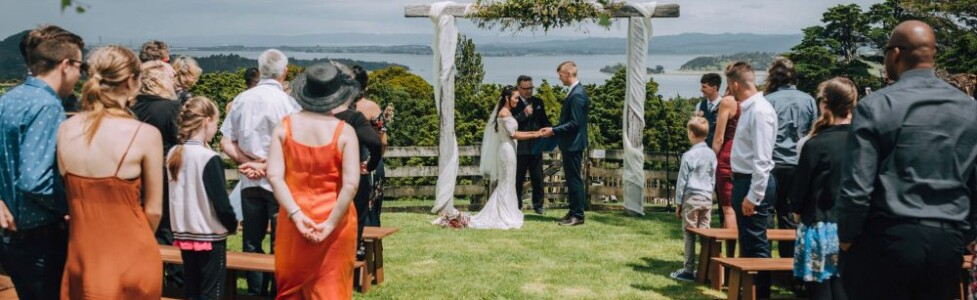 Outdoor Wedding Ceremony with a view over Whangarei Heads